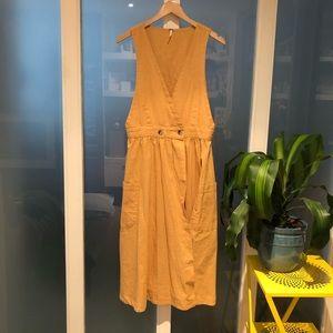 Free People Yellow Linen Midi dress